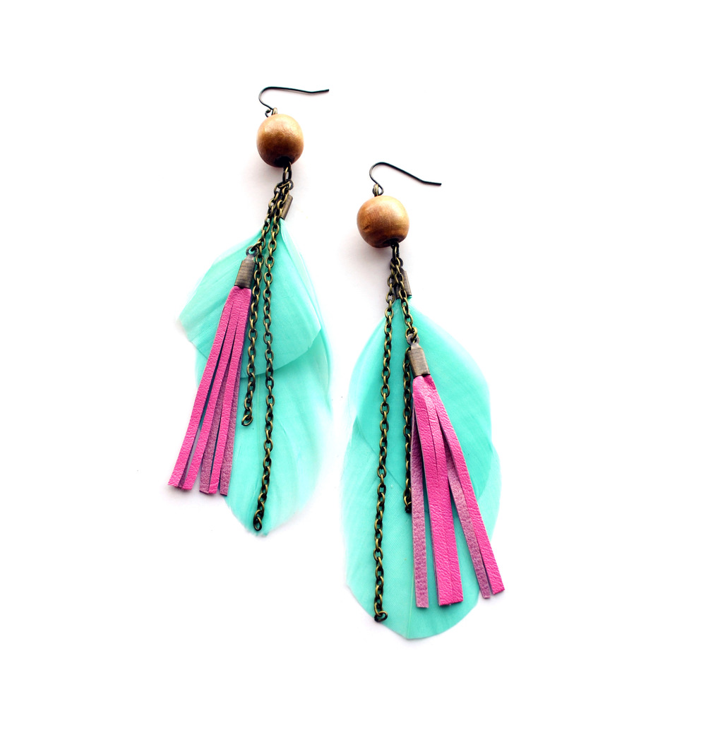 Pastel Mint Feather Earrings and Pink Leather Fringe.jpg