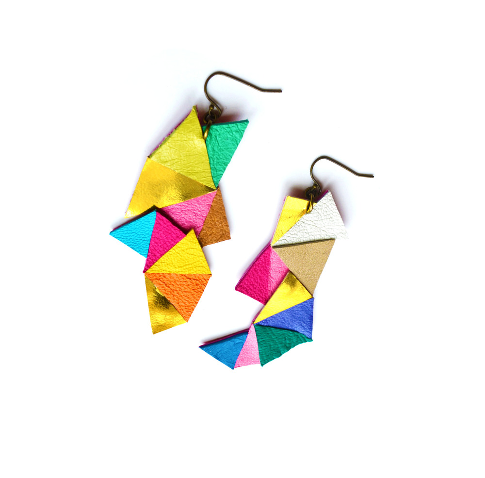 Neon Leather Earrings Geometric Triangles 3.jpg