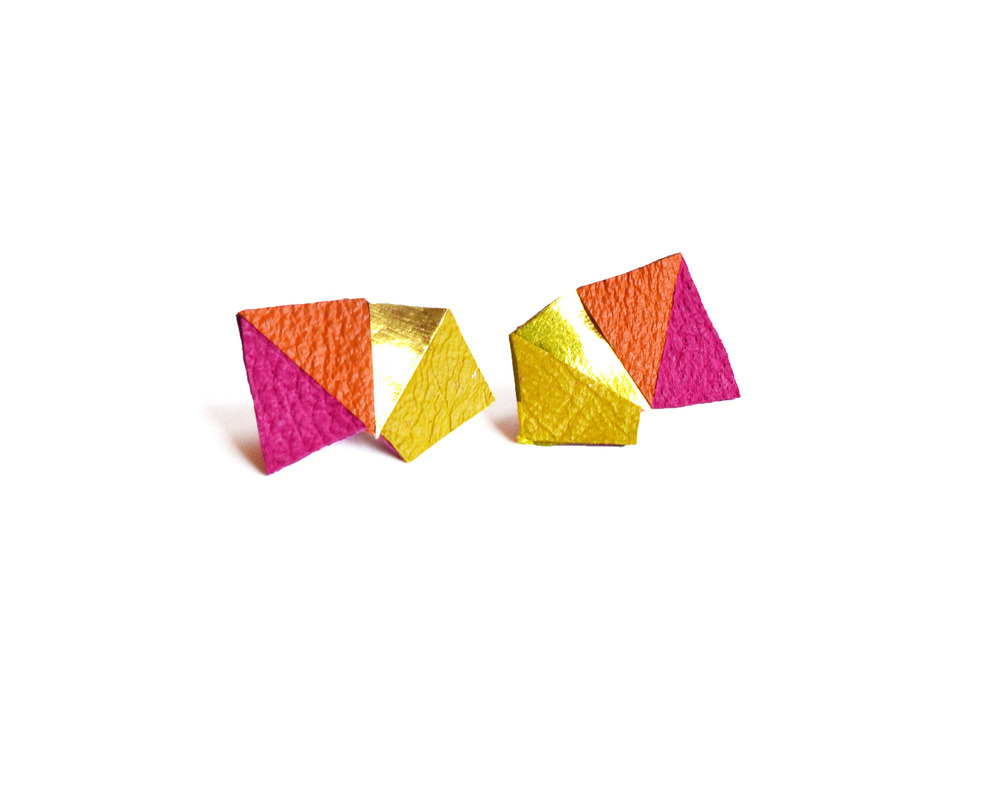 Neon Geometric Earrings Mini Triangle Color Block Orange and pink 5.jpg