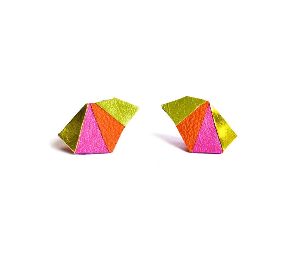 Neon Geometric Earrings Mini Triangle Color Block 2.jpg