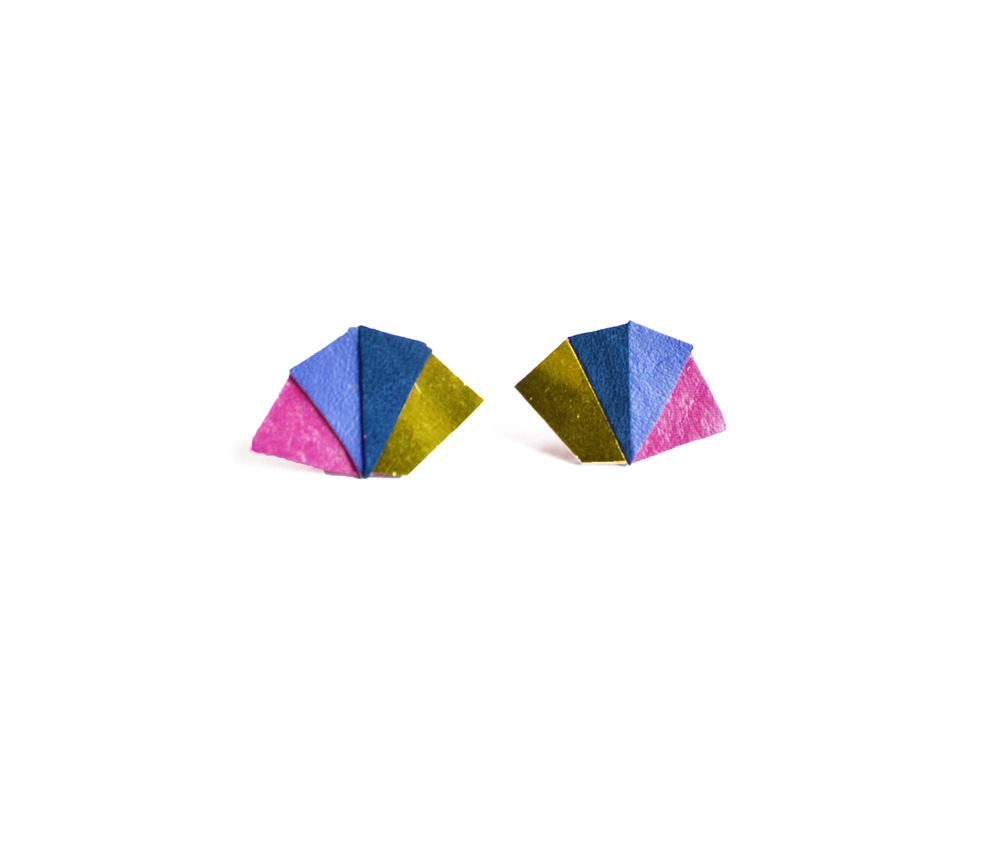 Neon Geometric Earrings Mini Triangle Color Block purple 2.jpg