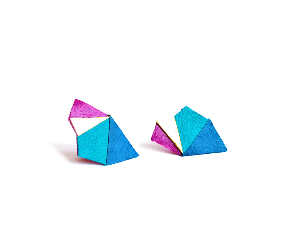 Neon Geometric Earrings Mini Triangle Color Block blue and fuchsia 4.jpg