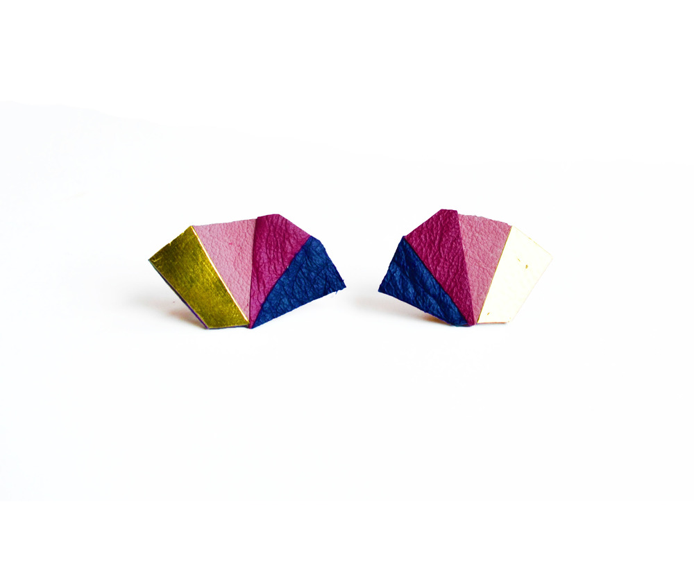 Neon Geometric Earrings Mini Triangle Color Block blue 2.jpg