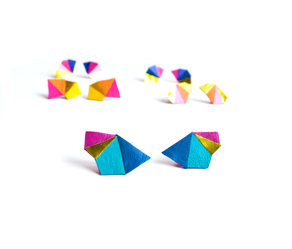 Neon Geometric Earrings Mini Triangle Color Block blue and fuchsia.jpg