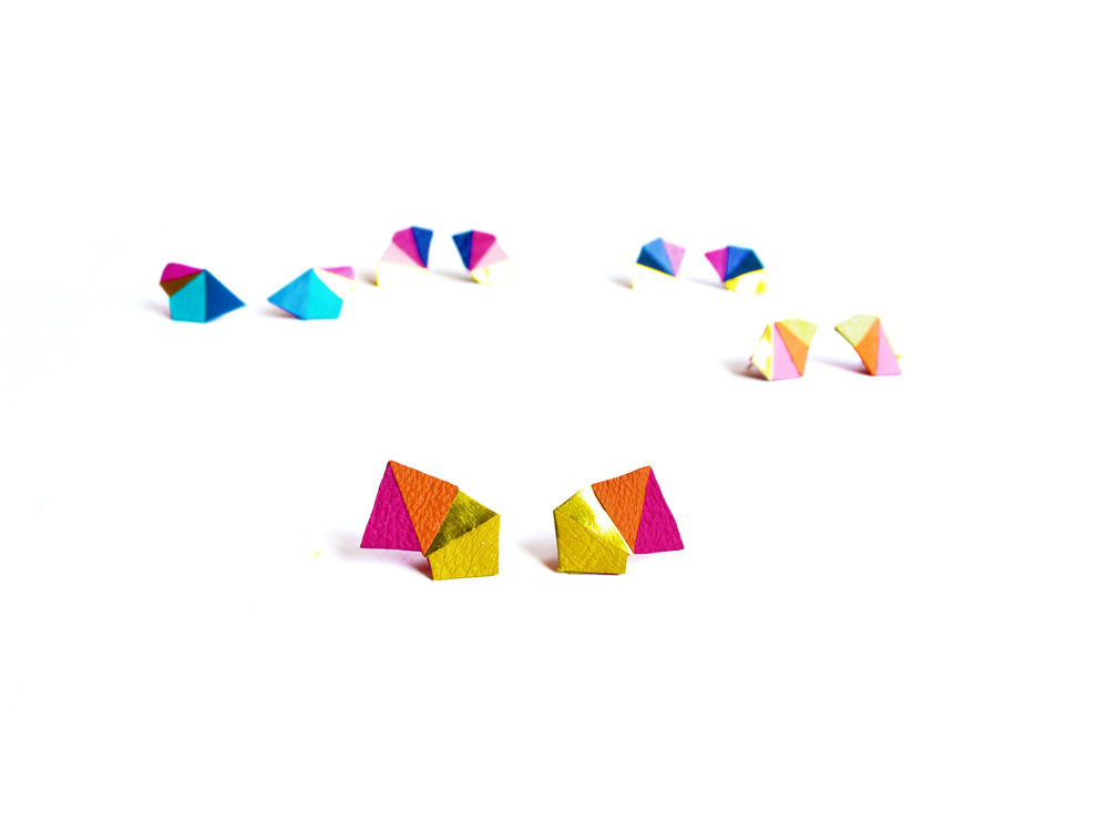 Neon Geometric Earrings Mini Triangle Color Block Orange and pink.jpg