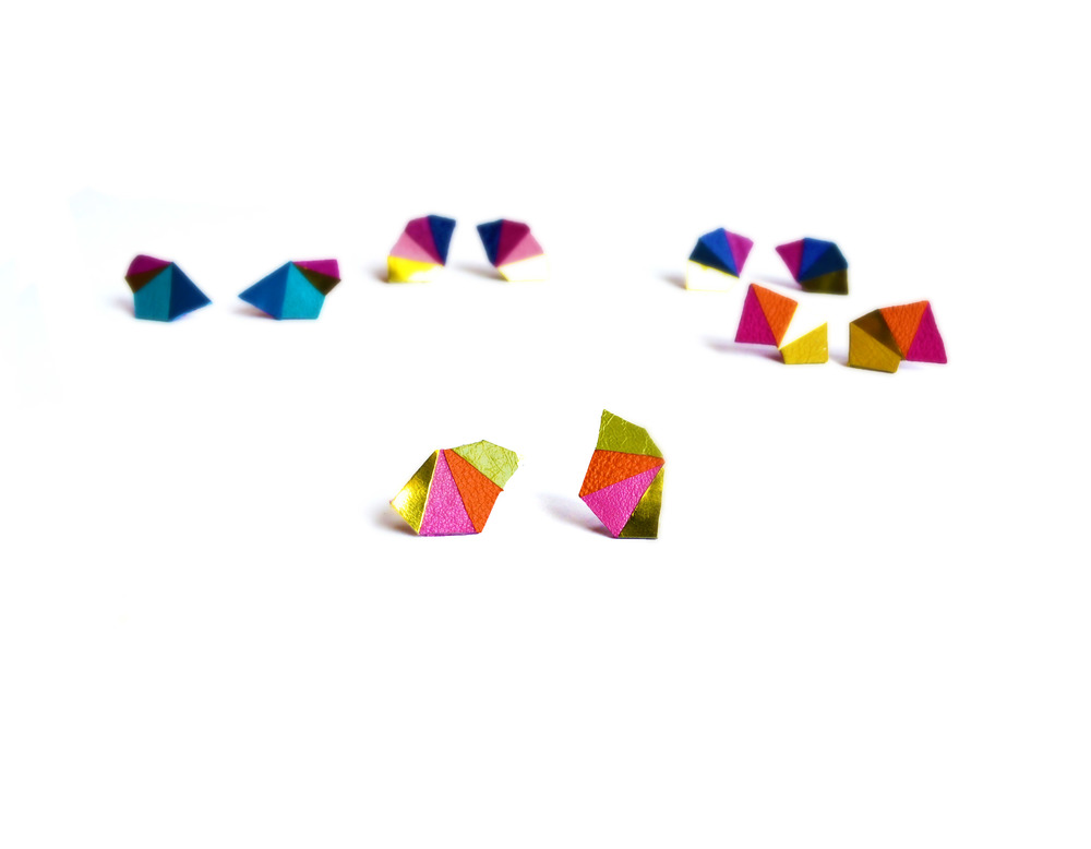 Neon Geometric Earrings Mini Triangle Color Block.jpg
