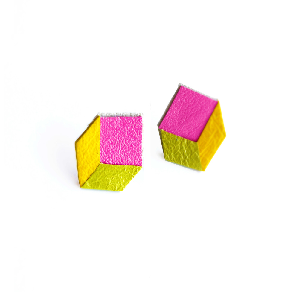 Geometric Neon Leather Earrings Cube 4.jpg