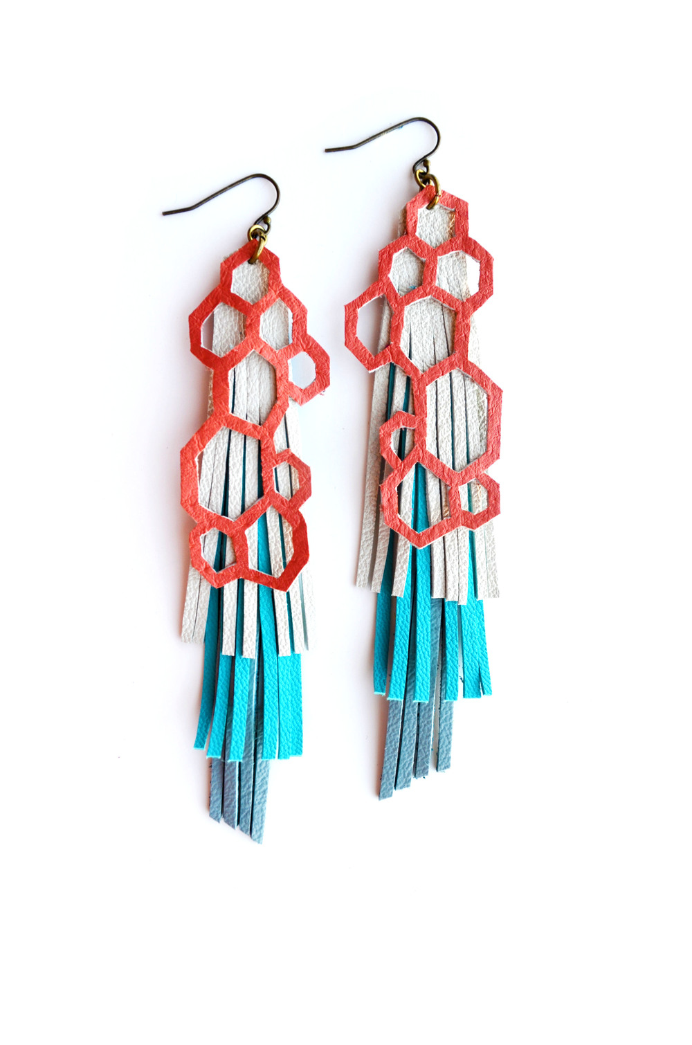 Geometric Leather Earrings Pink Hexagon and Fringe.jpg