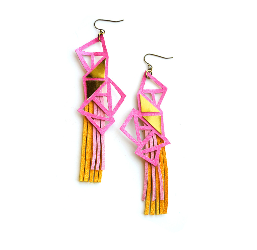 Triangle Geometric Earrings Galactic Pink and Gold 2.jpg