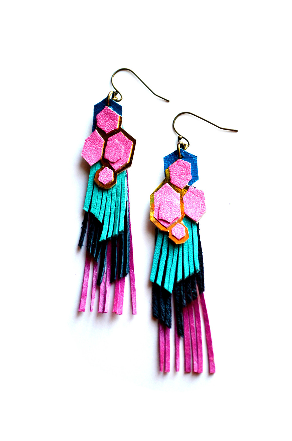 Geometric Leather Earrings Color Block Hexagon and Fringe 2.jpg