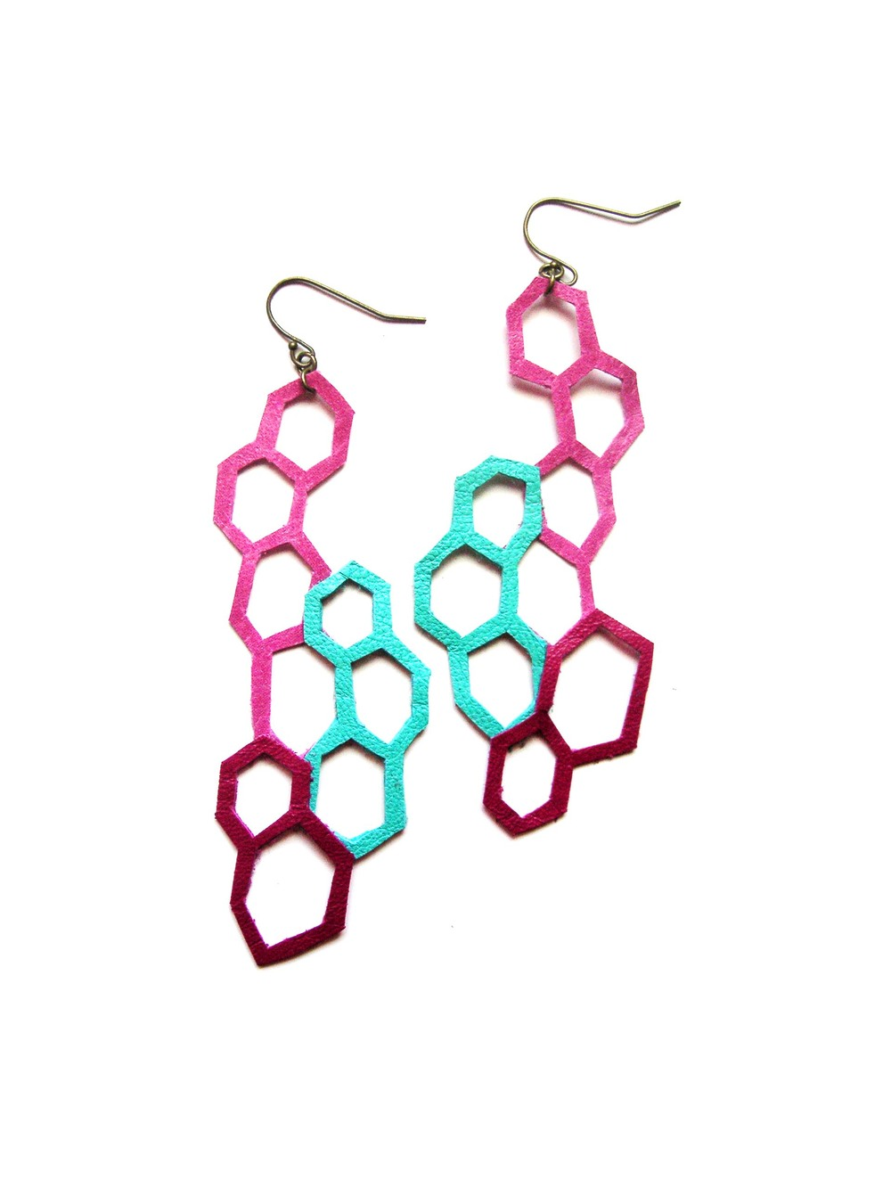 Geometric Leather Earrings Leather Hexagons.jpg