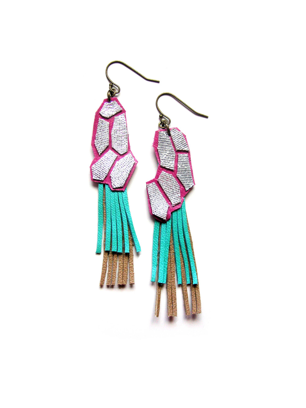 Geometric Leather Earrings Fucshia Teal and Silver 3.jpg