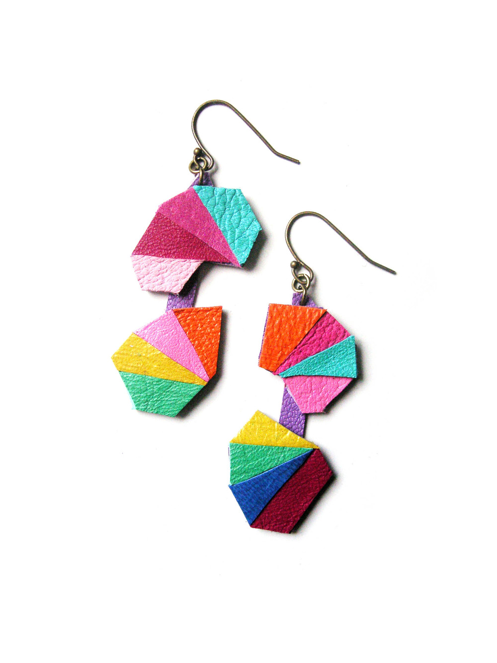 Leather Earrings Geometric Triangle Kaleidoscopes 4.jpg