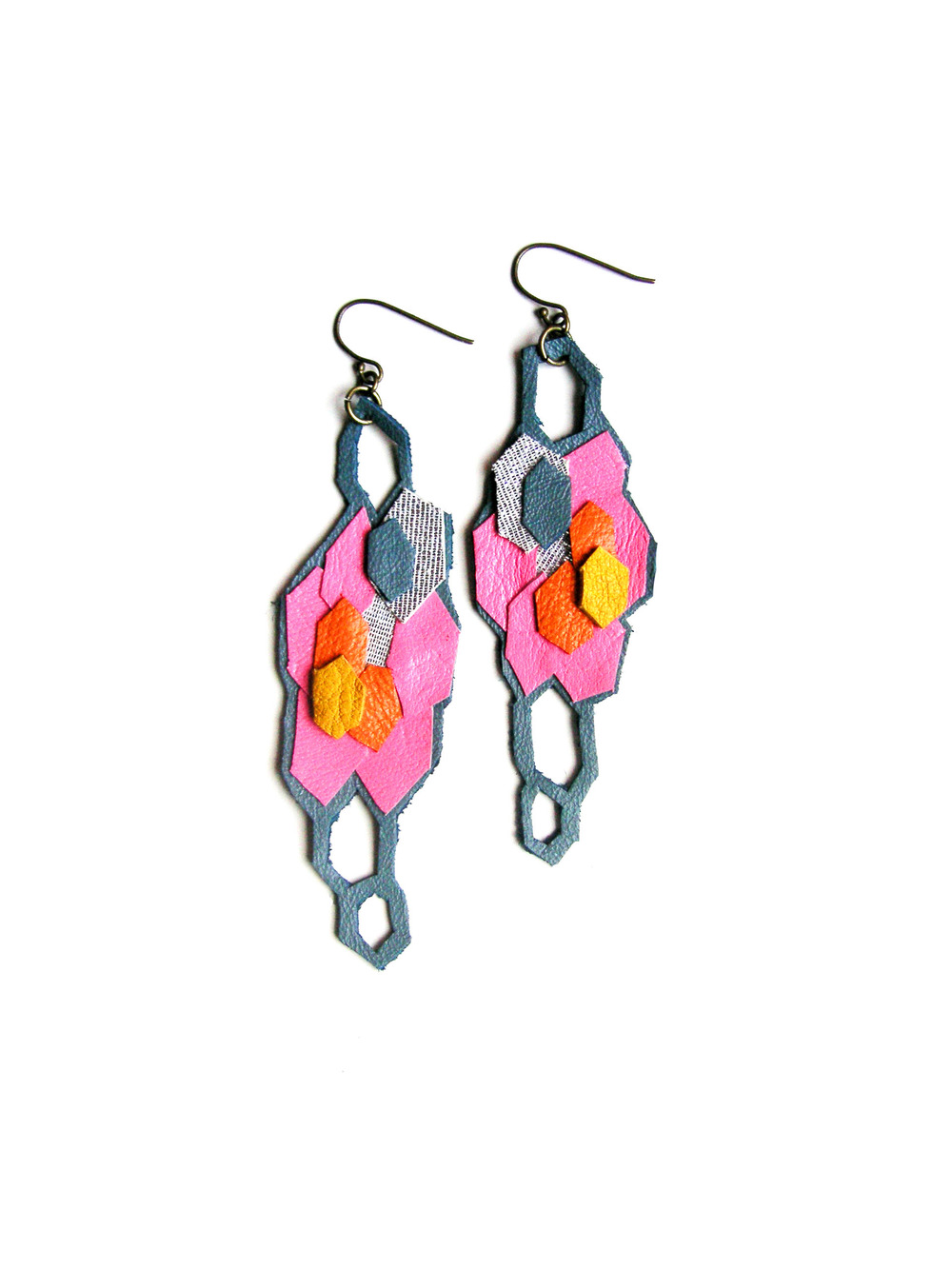 Geometric Leather Earrings Neon Hexagons.jpg