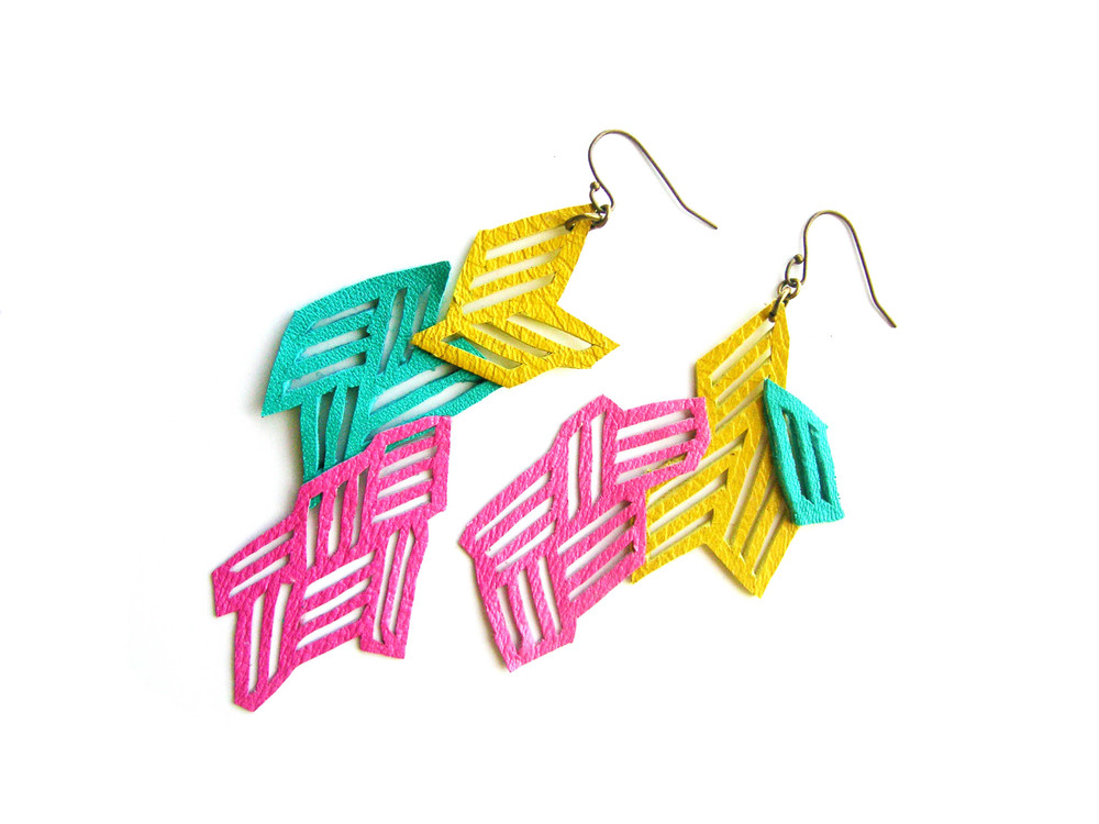 Geometric Leather Earrings Neon Pink and Teal Stripes 2.jpg