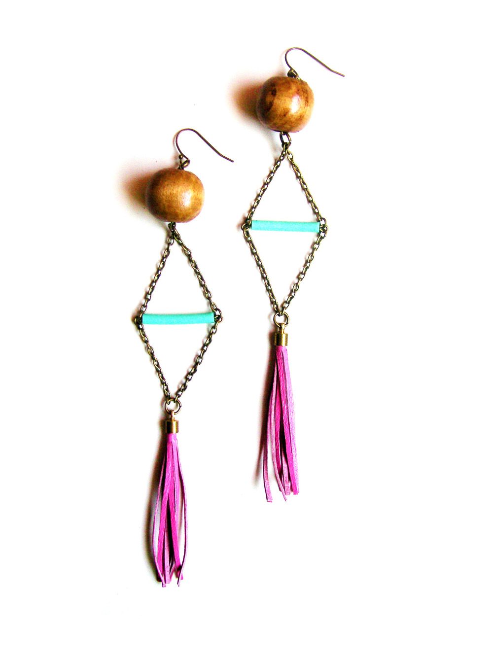 Geometric Earrings Mint Triangle and Pink Fringe.jpg