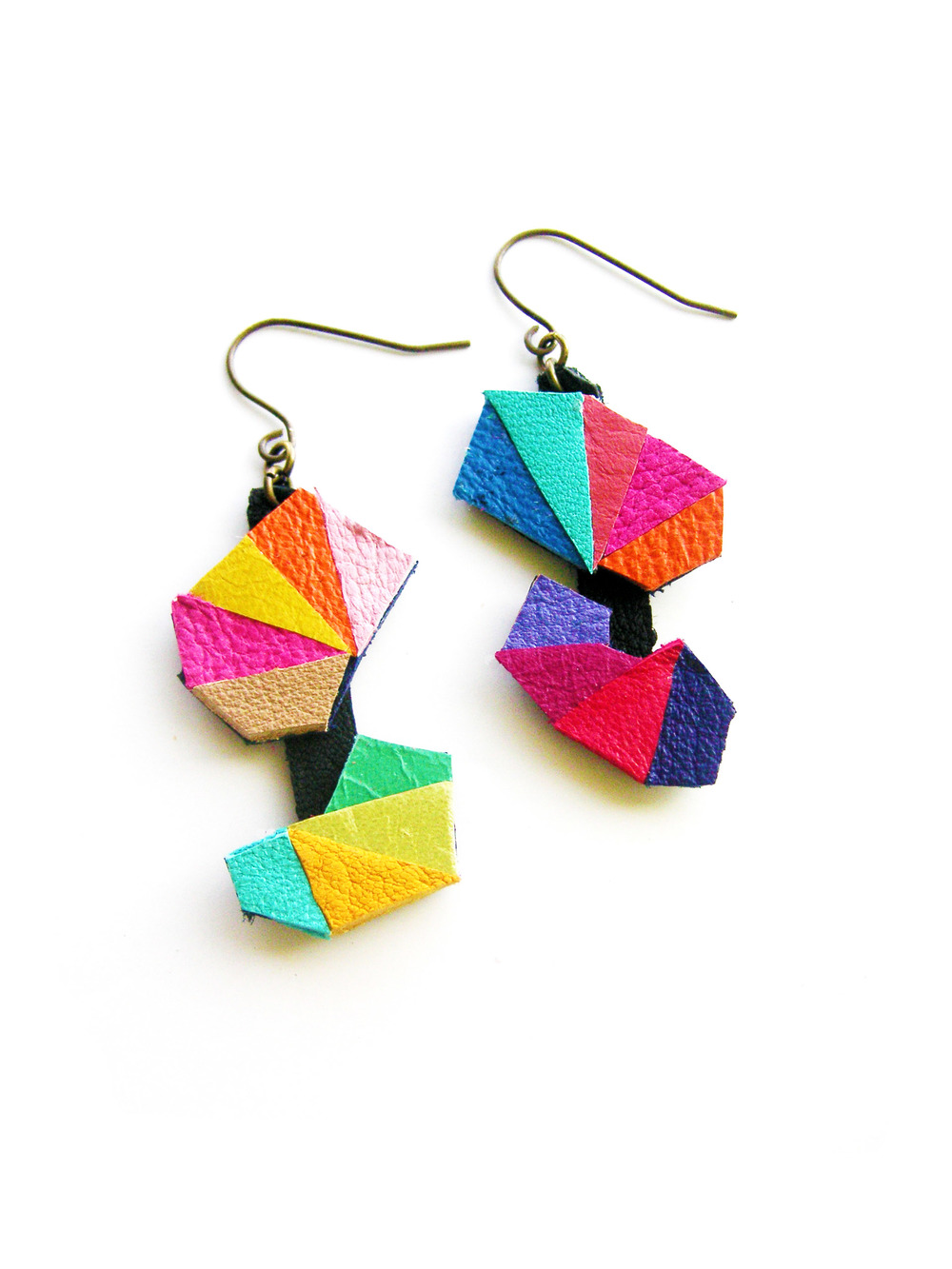 Leather Earrings Geometric Triangle Kaleidoscope 3.jpg