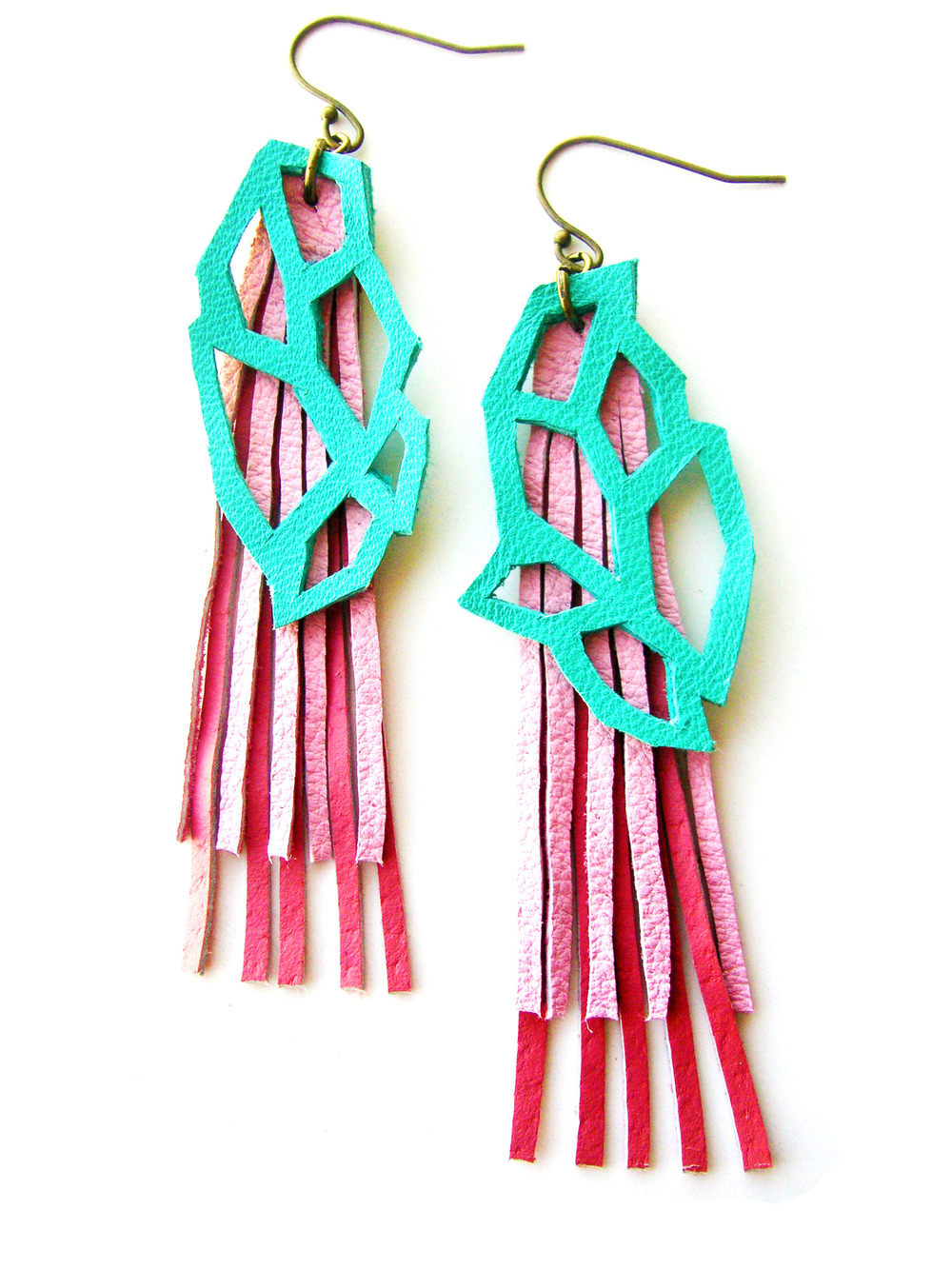 Geometric Leather Earrings Hexagons in Teal and Pink 4.jpg