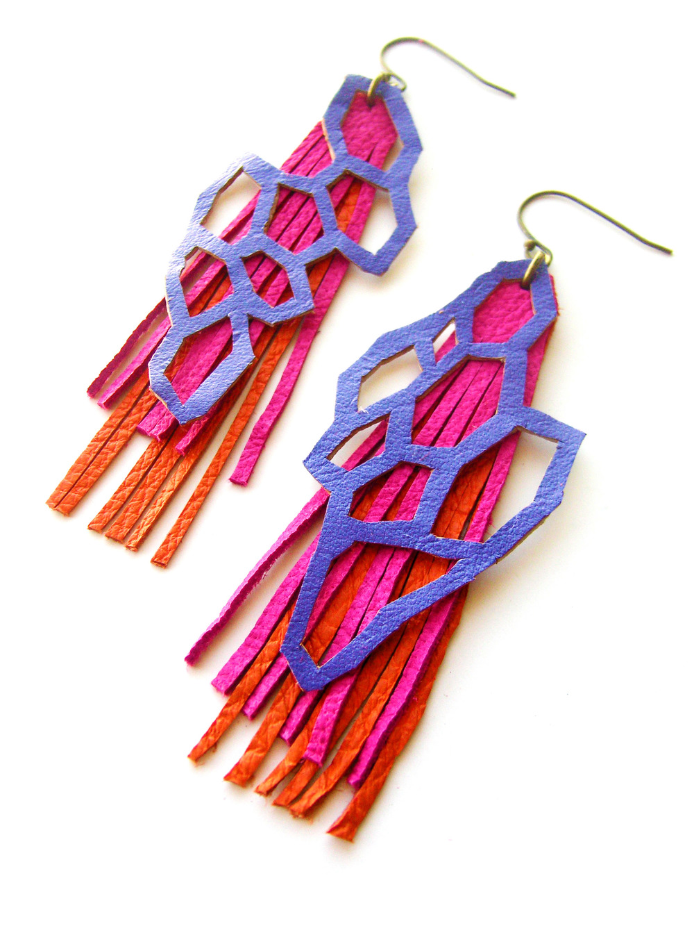 Geometric Leather Earrings Crystal Cuts in Purple Pink and Orange.jpg