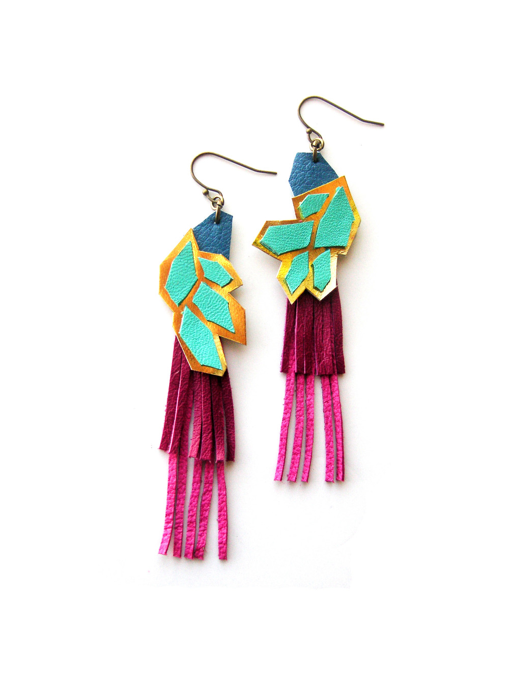 Geometric Leather Earrings Gold and Pink Hexagons.jpg