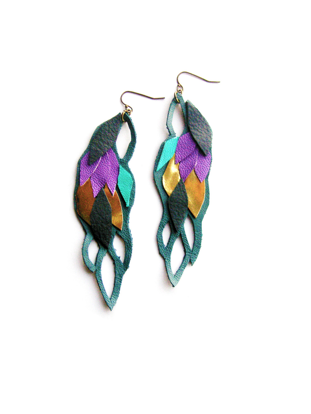 Geometric Leather Earrings Armor Wings.jpg