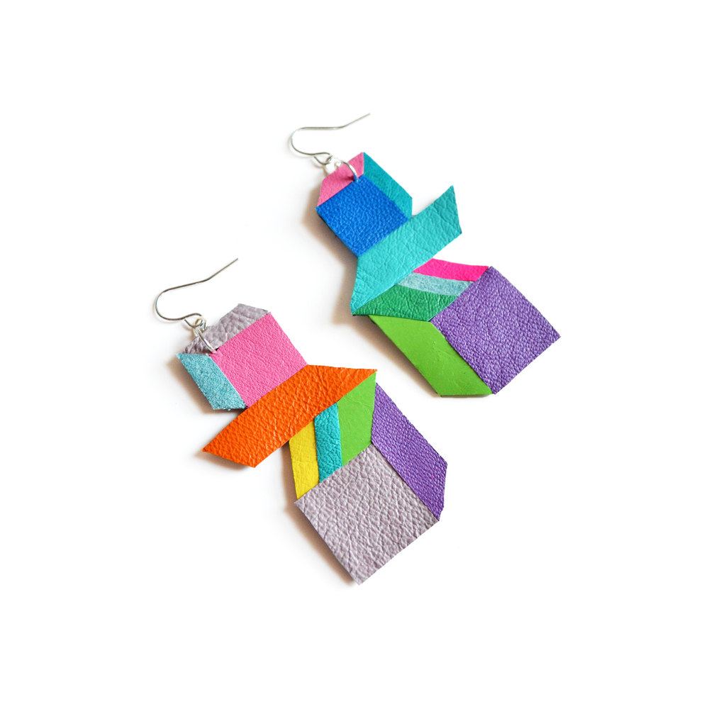 Cube Geometric Earrings, Neon Color Block, Escher Square Pattern 2.jpg