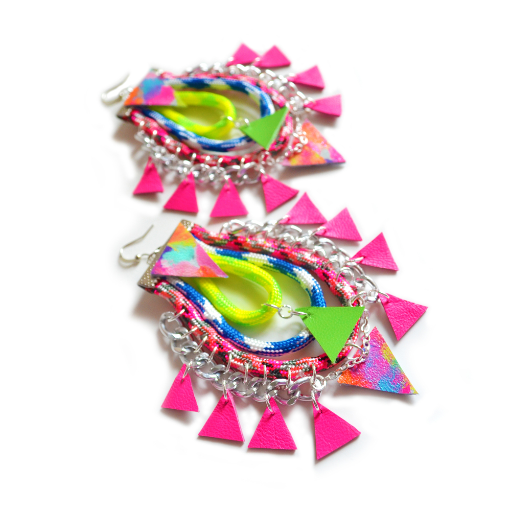 Neon Rope Hoop Earrings, Hot Pink Tribal Triangles, Woven Chain Statement Big Dangle Earrings 7.jpg