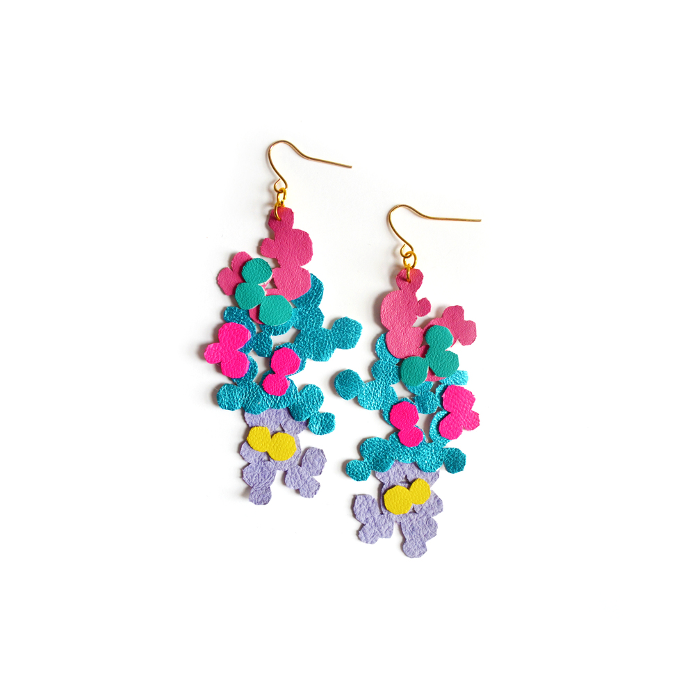Neon Leather Earrings, Geometric Jewelry, Circles and Dots Pattern.jpg