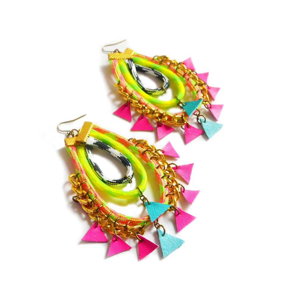 Neon Rope Earrings, Hot Pink Triangles, Woven Chain Statement Jewelry 2.jpg