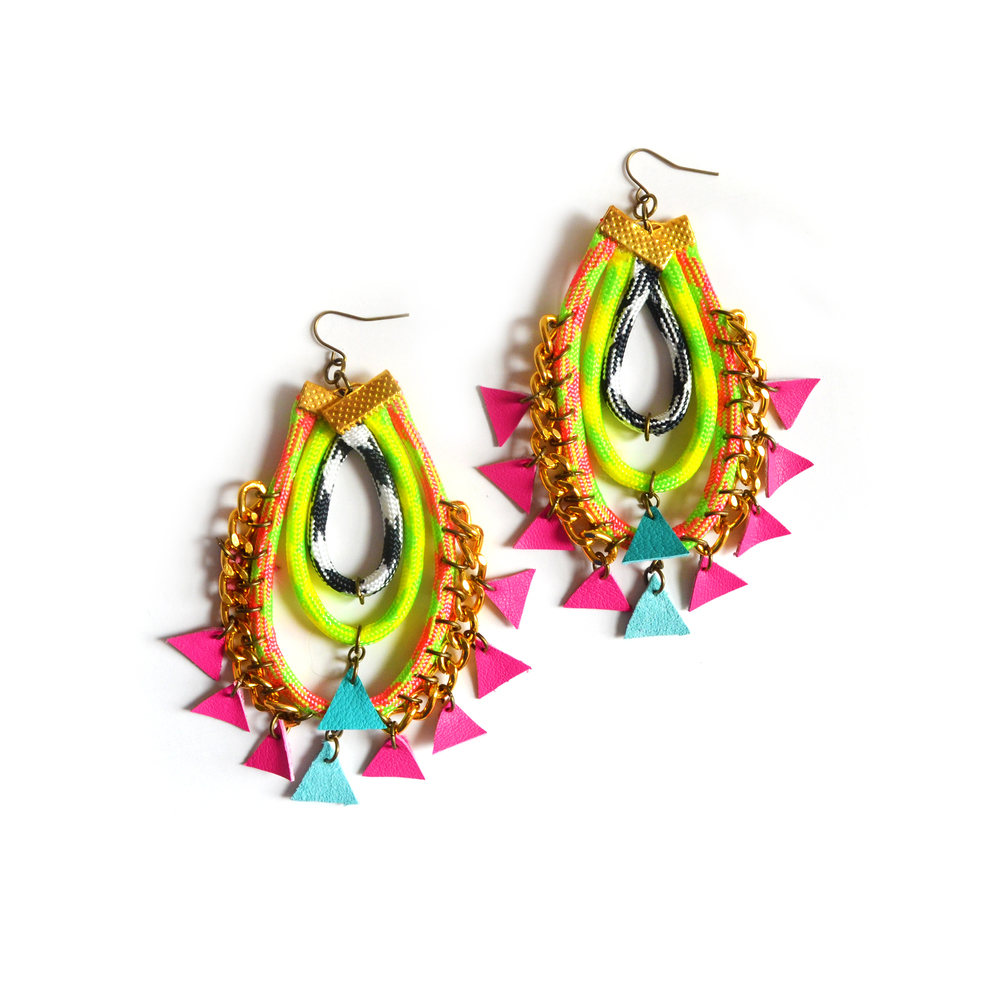 Neon Rope Earrings, Hot Pink Triangles, Woven Chain Statement Jewelry.jpg