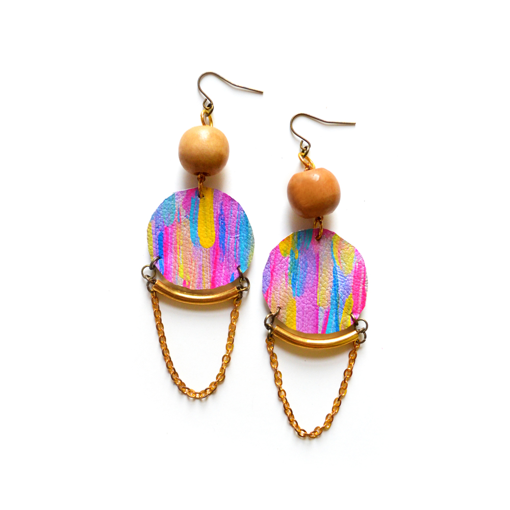 Chandelier Dangle Earrings, Neon Leather Circles, Wood Bead and Brass, Geometric Jewelry.jpg