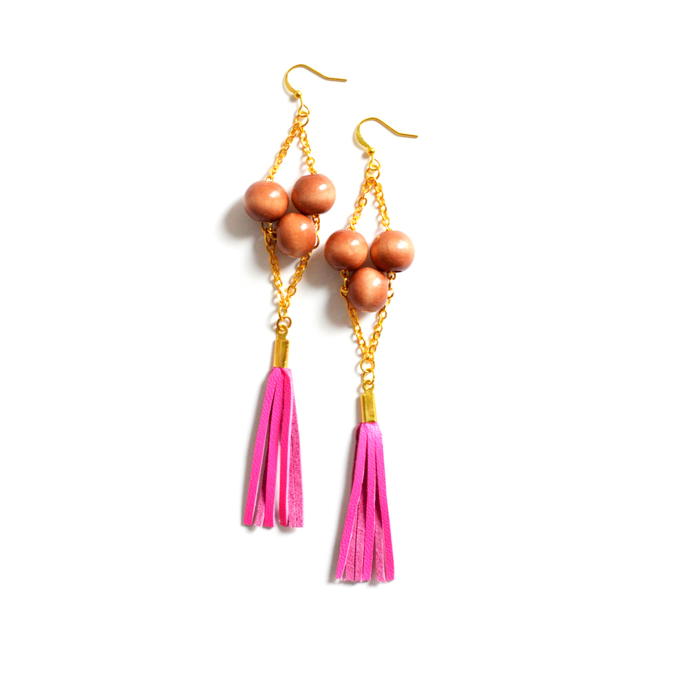 Wood Beaded Leather Earrings Tribal Fringe Boho Jewelry 3.jpg