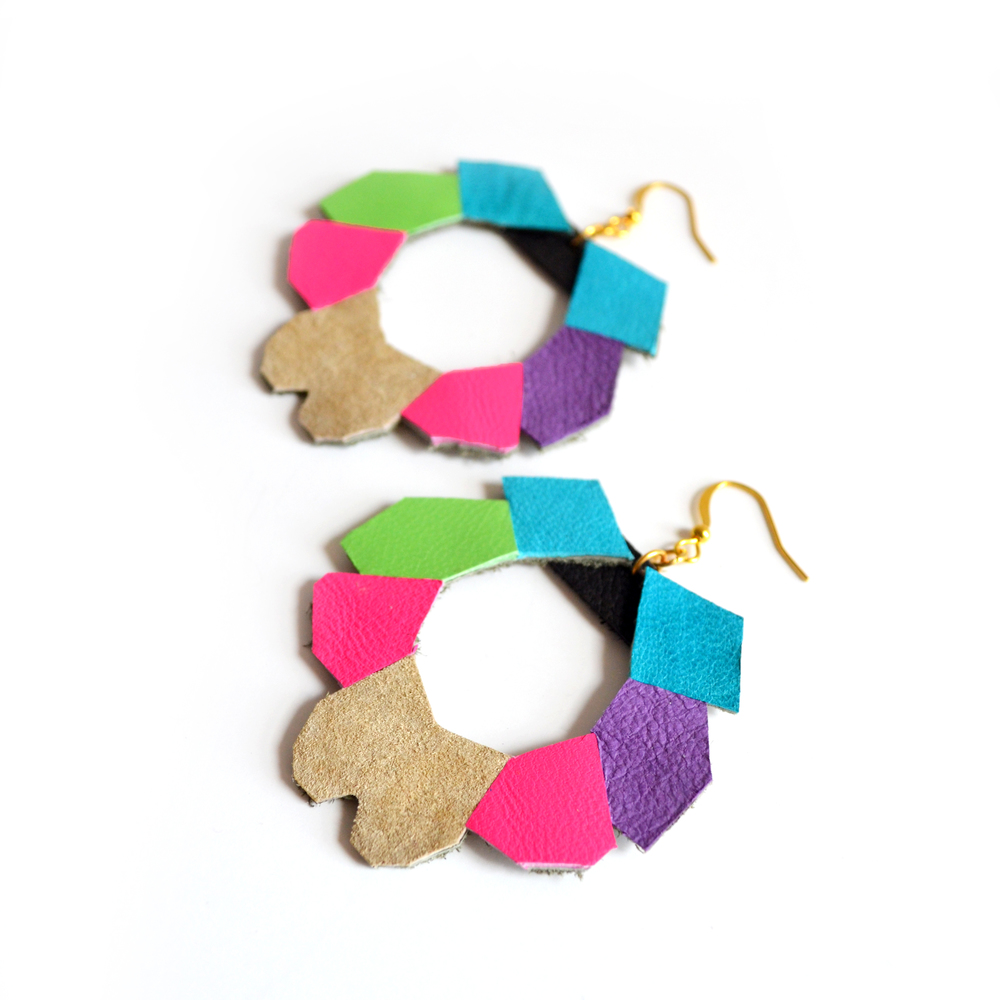 Geometric Leather Earrings Neon Hoops in Polygonal Form 4.jpg