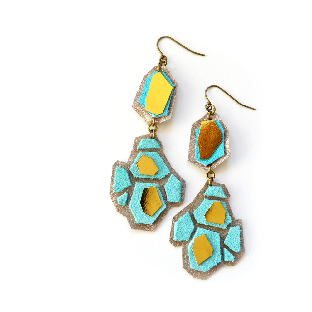 Geometric Leather Earrings Teal Hexagon Gems Drop Earrings 2.jpg