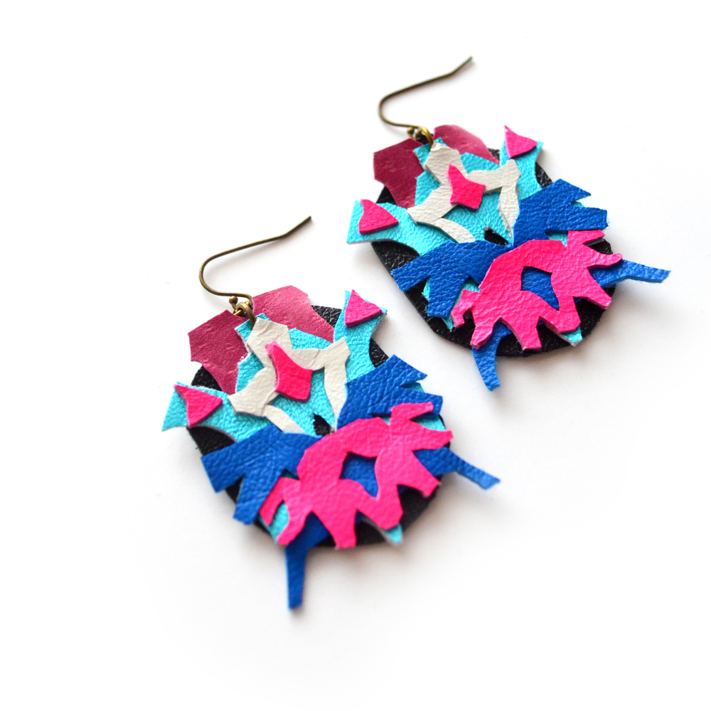 Neon Leather Earrings Tribal Geometric Rorschach Ink Blots 3.jpg