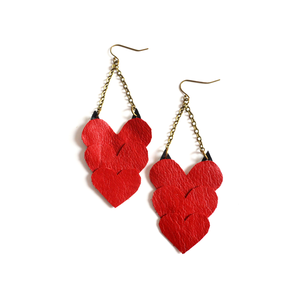 Red Heart Earrings in Leather Valentines Day Love.jpg