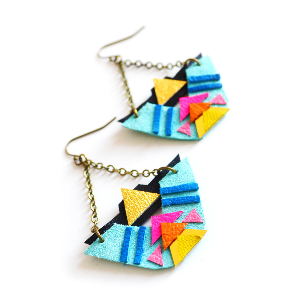 Triangle Leather Earrings Tribal Geometric Half Circles 3.jpg