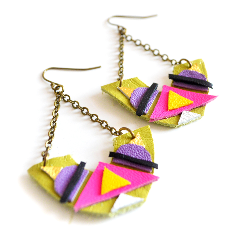 Geometric Leather Earrings Tribal Triangle Half Circles 4.jpg