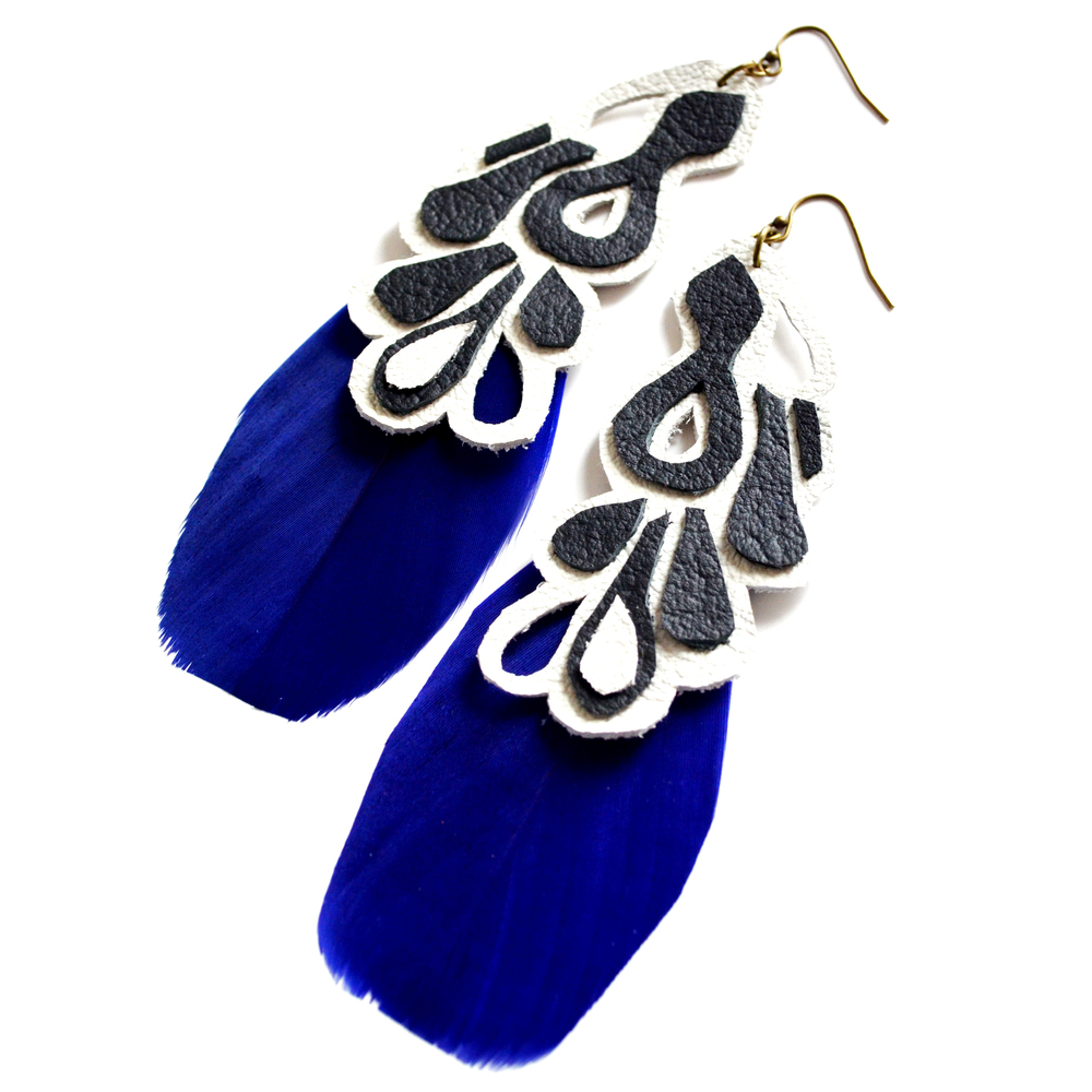 Leather Earrings Peacock Pattern Electric Blue Feather Earrings - Statement Earrings 3.jpg
