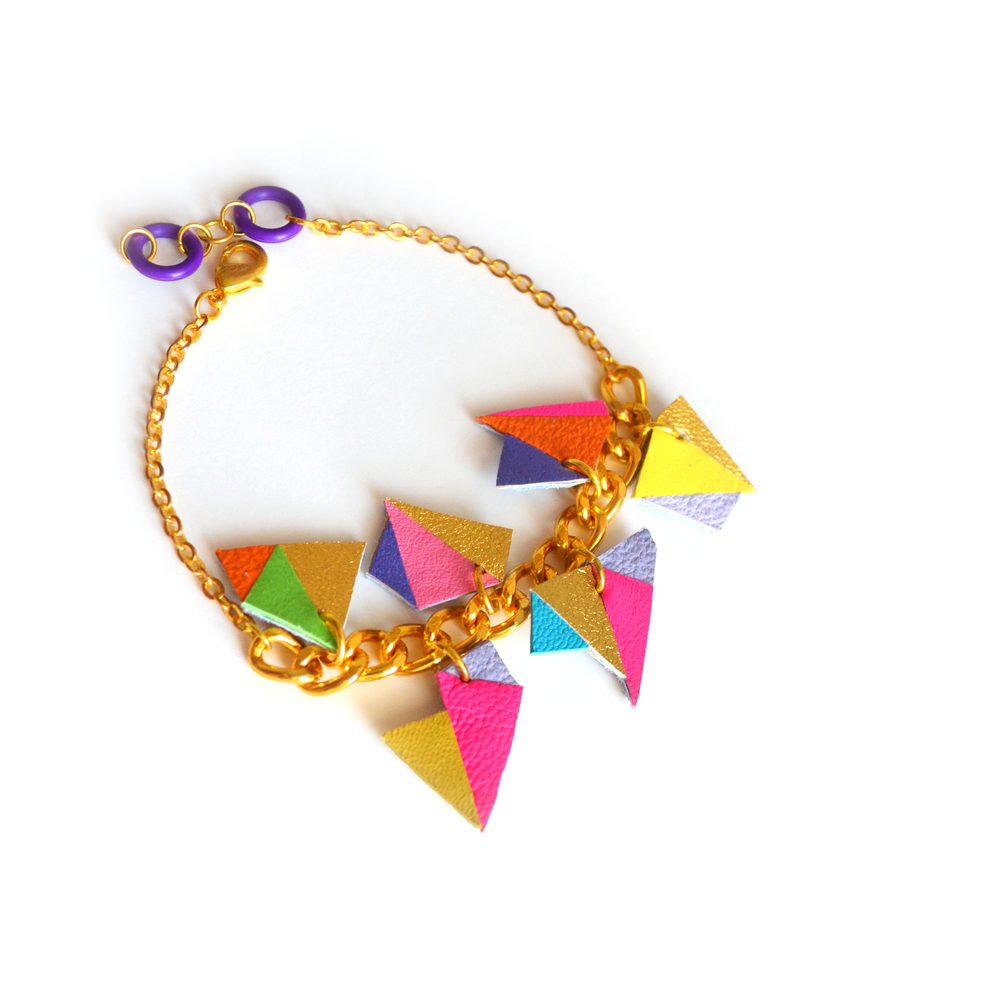 Neon Leather Charm Bracelet, Geometric Jewelry, Chunky Chain Triangles 4.jpg