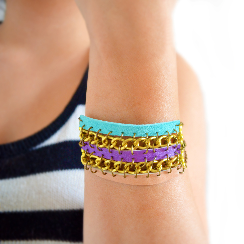 Tribal Leather Bracelet, Woven Chain Cuff, Friendship Bracelet 3.jpg