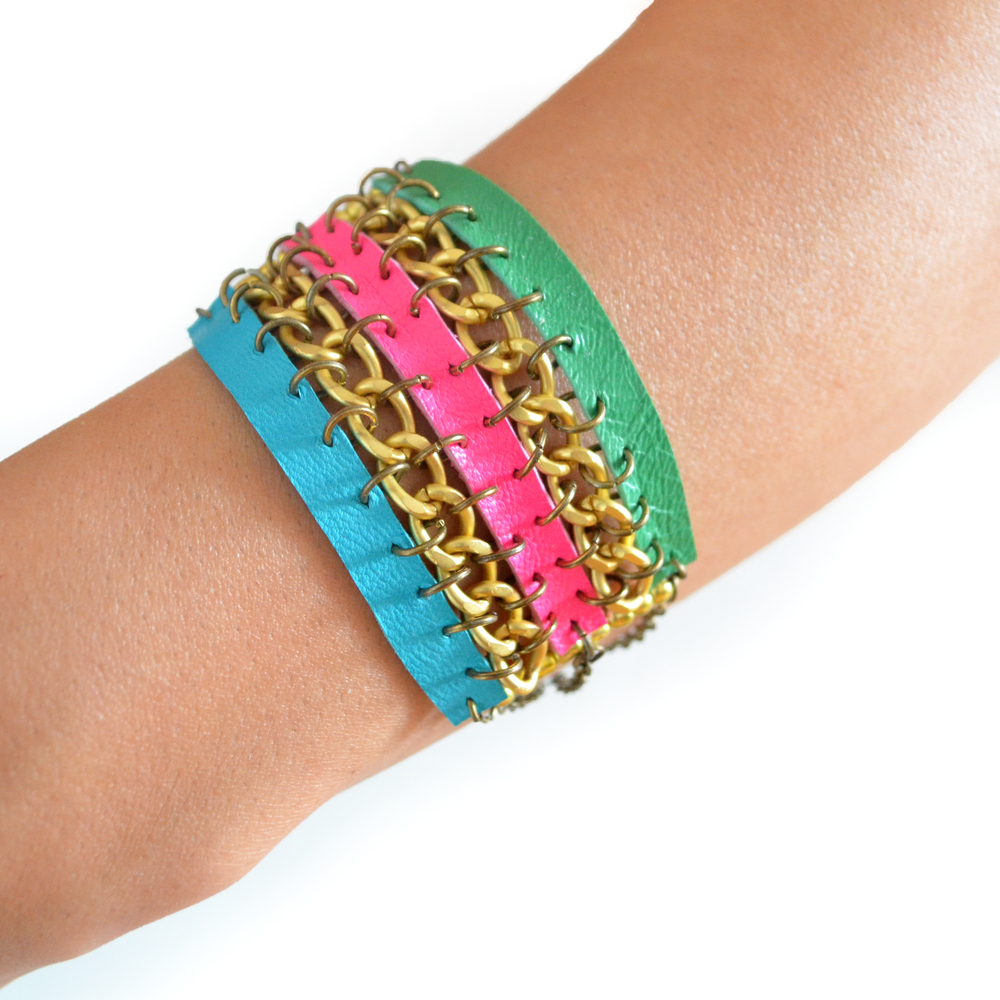 Tribal Leather Bracelet, Wrap Bracelet, Woven Chain Cuff, Neon Friendship Bracelet 2.jpg
