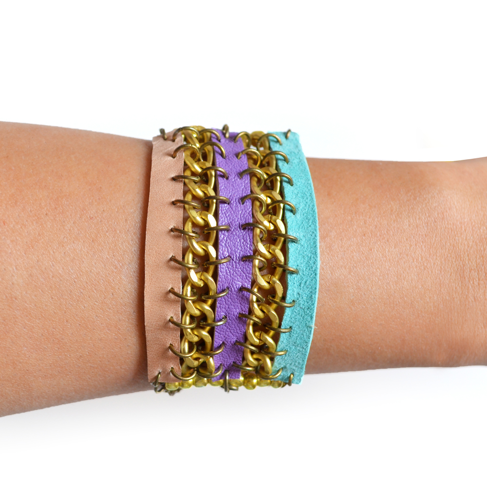 Tribal Leather Bracelet, Woven Chain Cuff, Friendship Bracelet.jpg