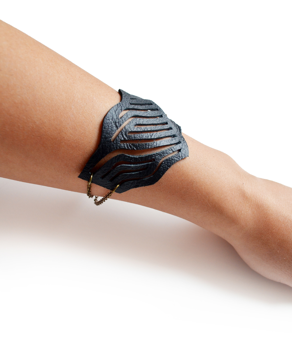 Geometric Bracelet Stripes Leather Cuff.jpg