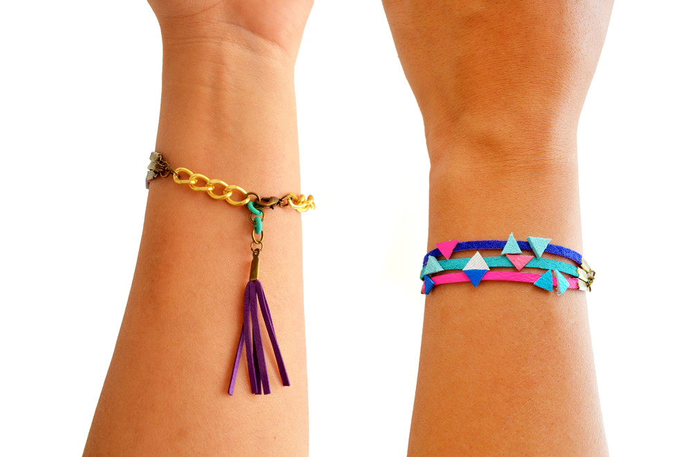 Neon Friendship Bracelet Leather Wrap Tassel Triangle Bracelet 5.jpg