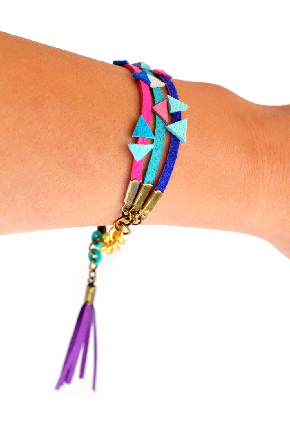 Neon Friendship Bracelet Leather Wrap Tassel Triangle Bracelet 4.jpg