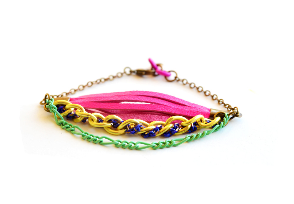 Neon Friendship Bracelet Leather Fringe and Chains 2.jpg