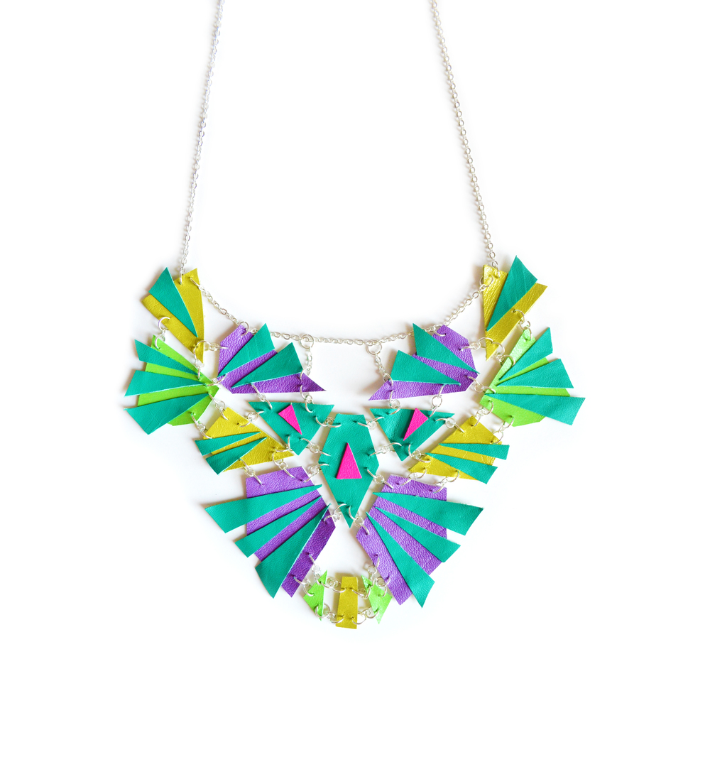 Emerald Geometric Statement Necklace, Leather Bib, Triangle Prism, Contemporary Jewelry.jpg