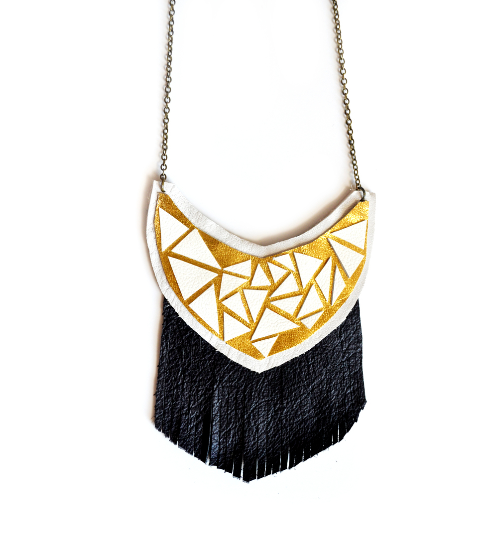 Black Fringe Leather Bib Necklace, Geometric Jewelry, Metallic and White Triangle Facets.jpg