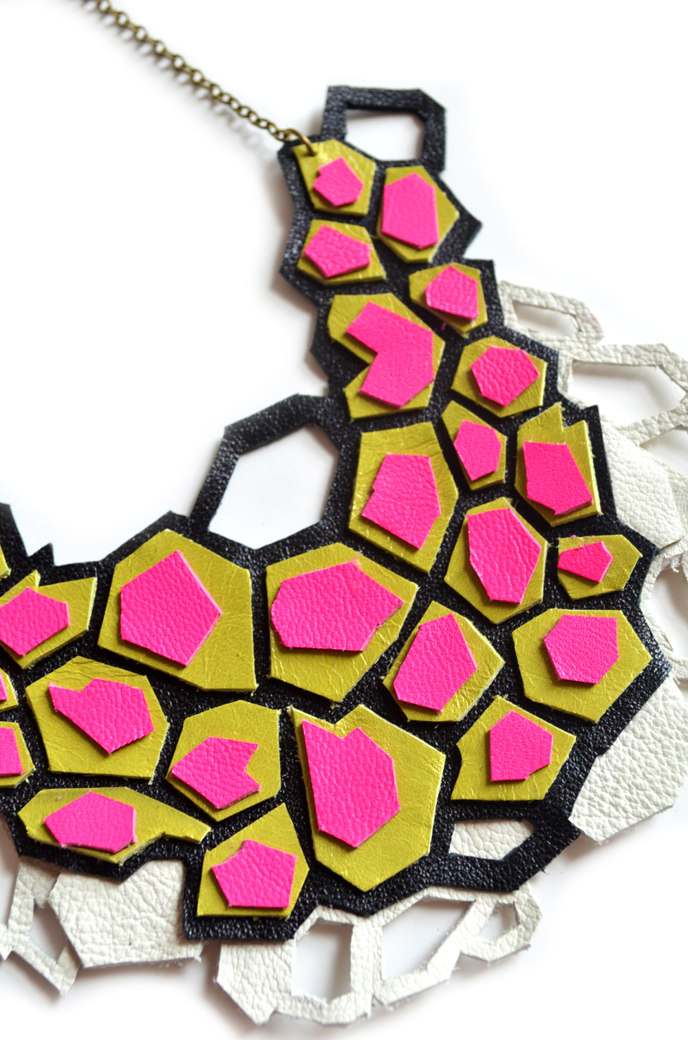 Geometric Statement Necklace, Hot Pink and Lime Facted Hexagons, Leather Jewelry 5.jpg